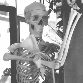 skelet met zakdoek